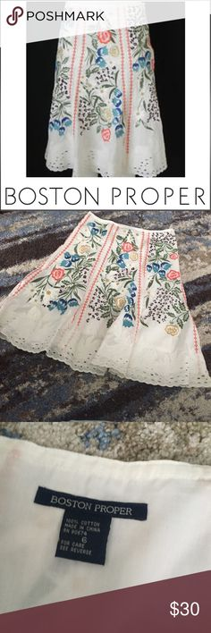 Boston Proper White Eyelet Embroidered Skirt Boston Proper White Eyelet Embroidered Skirt. Lined. 15.75 in waist. 25 inches long. Excellent condition. Feel free to make an offer. Boston Proper Skirts A-Line or Full