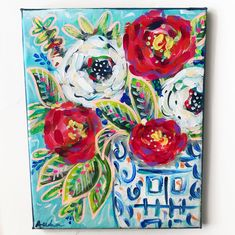 Items similar to Florals in Ginger Jar Pop Art Painting / Chinoiserie Flower Art / inch Original Art on Canvas / Acrylic / Audra Sampson / Blue Whi on Etsy Jar Painting, Painted Jars, Ginger Jars, Chinoiserie, Paths, Florals, Abstract Art, My Etsy Shop, Paintings
