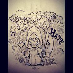 drawing 'love hate or die' Skull Tattoo Design, Tattoo Design Drawings, Tattoo Sketches, Tattoo Designs Men, Full Chest Tattoos, Half Sleeve Tattoos Drawings, Forearm Sleeve Tattoos, Easy Cartoon Drawings, Cartoon Tattoos