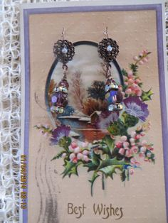 Victorian Look Antique Brass earrings with Purple by bling33, $16.00