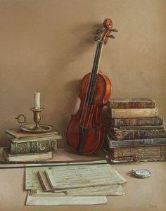 Still life by Spanish artist Antonio Capel. Violin Art, Violin Music, Art Music, Cello, Music Painting, Foto Transfer, Spanish Painters, Music Images, Still Life Art