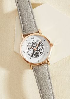 Show off your academic prowess and keen sense of style by sporting this clever watch! Featuring a grey, faux-leather band, a rose gold rim, and a white face bedecked with a feline version of a famous da Vinci work, this super-smart timepiece keeps your academic game strong all day long.