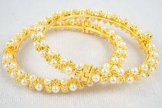 New Indian Bollywood Pearl Bangles Set Gold Plated Bracelet Jewelry 2.4/2.6/2.8 #Handmade #Bangle