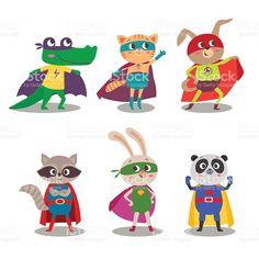 Superhero animal kids. Cartoon vector illustration royalty-free stock vector art