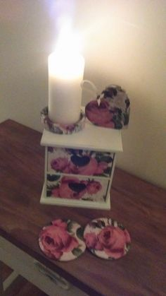 Co-ordinating, pretty jewellery/storage box, coasters, candle holder and hanging heart in Annie Sloan Old White and Antique Floral decoupage.