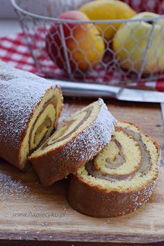 Szybkie ciasto - rolada z jabłkami - Napiecyku Cake Hacks, Hot Dog Buns, Cake Recipes, Appetizers, Bread, Baking, Food, Cakes, Diet