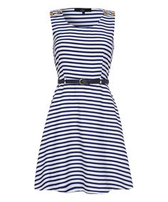 Blue Stripe Belted Sleeveless Dress