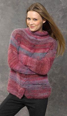 Breien. Deze prachtige en warme trui maak je met Katia Concept Silk-Mohair. De samenstelling van 70% mohair en 30% zijde maakt de Silk Mohair een superzachte en luxe draad. Mohair komt van de eerste schering van de angorageit en heeft dus de langste en fijnste haren. Het is bijzonder fijn van structuur en verkrijgbaar in prachtige gemêleerde en neutrale kleuren. Model en patroon staan beschreven in het patronenboek Katia Concept No. 2 (blz. 41) Katia CONCEPT 2 pag 41kopie.jpg