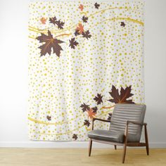 Maple leaves brown and yellow polka dots tapestry - home gifts ideas decor special unique custom individual customized individualized
