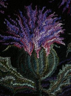wool hooked thistle detail, designed and hooked by Jennifer Martinsons