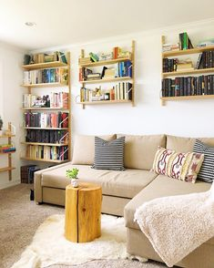 IKEA for the win! These terrific shelving units are the best. Look for the SVALNÄS designs. The come in multiple heights, widths, and DEPTHS! Modular Shelving, Shelving Units, Svalnäs Ikea, Behind Couch, Scandinavian Home, New Room, Bookshelves, Living Room Designs, Home Office