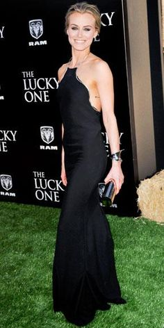 Taylor Schilling in Calvin Klein Collection at The Lucky One premiere.