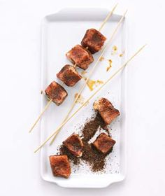 Chili Rubbed Pork Kebabs with Pineapple Salsa! So Yummy and easy. Realsimple.com