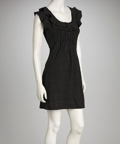 Take a look at this Black & White Polka Dot Cap Sleeve Dress by Go With the Flow: Women's Apparel on @zulily today!