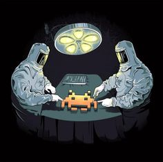 Space Invaders Alien Autopsy on a T-Shirt