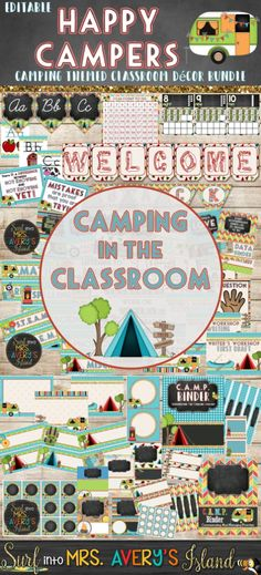 Welcome your students back to school with this editable bundle of camping themed classroom decor!  Teachers and students will love these editable back to school essentials!  Click the link to check out S'MORE of these bulletin board ideas, classroom management posters, bin labels, bunting, and so much more!