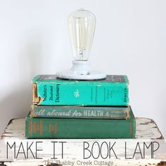book lamp tutorial. Love books. Love to read. Need light to read. So make a book reading lamp! LOVE