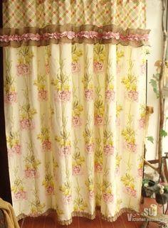 SHABBY PINKS Peony Rustic Chic Burlap SHOWER Curtain Ruffles Cotton Check Cream