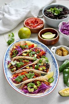 Tempeh Tacos!!! These vegetarian tacos are made with an easy vegan taco filling made from tempeh. They're super fast to make, healthy, and delicious, and the vegan taco meat is full of plant-based protein. #tempehtacos #vegantacos Vegetarian Mexican Recipes, Vegetarian Tacos, Vegan Recipes, Free Recipes, Health Recipes, Vegetarian Dinners, Vegan Food, Vegan Main Dishes, Healthy Foods