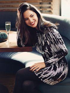 Sequins & Sleeves// • Dress, $225, Michael Michael Kors • Tights, $18, Lauren Ralph Lauren, macys.com • Clutch, $44, Accessorize