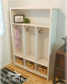 Storage Locker Entryway by @thepaintedkey on IG, from plan http://www.ana-white.com/2010/09/locker-cabinet-fresh-home-magazine