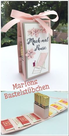 You do not get that twice, right? A few iced . Ein paar Eistee-Beutelchen und et… You do not get that twice, right? A few ice tea bags and some chocolate make the break perfect. Handmade Crafts, Diy And Crafts, Paper Crafts, Handmade Soaps, Diy Cadeau, Diy Gifts For Friends, Gifts For Kids, Diy Presents, Stamping Up