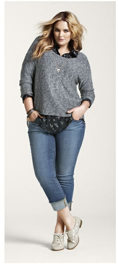 Torrid cropped boyfriend jeans  Love this outfit  (easy enough to up cycle jeans for this look.)