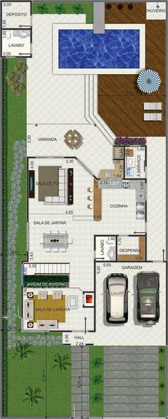 Projeto de sobrado de 4 quartos com 266,09m² Small House Plans, House Floor Plans, Craftsman Floor Plans, Small Space Interior Design, Architecture Plan, House Layouts, Plan Design, Autocad, My Dream Home