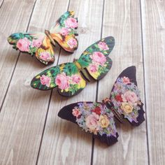 Floral print butterfly brooch set of 3 boho by AbbiesAnchor