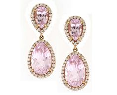 Kunzite micro pave earrings set in rose gold