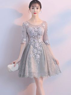 Lace Contrast Solid Color O-Neck Half Sleeves High Waist Prom Dresses