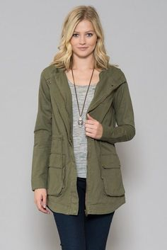 - Lightweight, military style jacket with front flap pockets, zip-front, hood and tie waist. - 100% Cotton