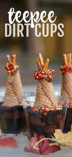Kitchen fun- Teepee Dirt Cups: The perfect teepee snack for kids of all ages. Children can learn about the various shelters of nomadic Indian tribes and also bury a fish just like the Wampanoag Indians taught the Pilgrims to do at the First Thanksgiving! Thanksgiving Food Crafts, First Thanksgiving, Thanksgiving Parties, Thanksgiving Recipes For Kids To Make, Kids Food Crafts, Holiday Treats, Holiday Recipes, Holiday Foods, Christmas Recipes