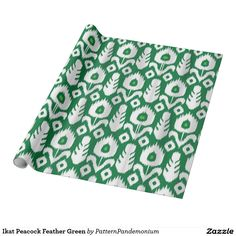Ikat Peacock Feather Green Wrapping Paper