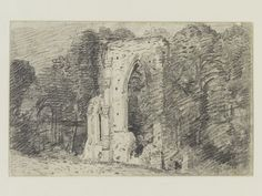 Netley Abbey: the exterior seen amid trees, John Constable, 1816