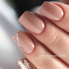 Nude Short Glitter Accent Finger nail Matte Shiny Acrylic Coffin Long Nail Ideas Manicure - French tip - Square shaped long nails - cute summer fall spring fingernails - gel nails - shellac - Nail Polish, Nail Manicure, Manicure Ideas, Manicure Colors, Gel Manicures, Simple Gel Nails, Gel Manicure Nails, Mani Pedi, Gorgeous Nails