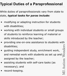 "An ""Aide"" is different than a ""ParaProfessional"" an aide can be a volunteer or a… Teacher Aide Jobs, Teachers Aide, Teacher Assistant, Special Education Teacher, Teacher Resources, Autism Education, Autism Awareness Quotes, Co Parenting Classes, Educational Assistant"