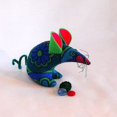 Retro ReBorn Mouse 60s blue green abstract daisy  by audreyscat, £10.00