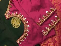 Most Beautiful Aari/Maggam Hand embroidery Pattern, Make with Normal Stitching Needle -Simple & Easy Wedding Saree Blouse Designs, Pattu Saree Blouse Designs, Designer Blouse Patterns, Silk Saree Blouse Designs, Simple Embroidery Designs, Simple Blouse Designs, Stylish Blouse Design, Dress Designs, Maggam Work Designs