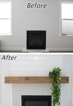 Easy DIY wood mantel - Remington Avenue : The easiest DIY wood mantel ever! I& not a pro, but this mantel looks so good! Come join me for a fun tutorial and inexpensive project! Floating Fireplace, Diy Fireplace Mantel, Wooden Mantel, Fireplace Remodel, Fireplace Design, Wooden Diy, Fireplace Ideas, Reclaimed Wood Mantel, Brick Fireplaces