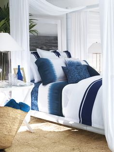 """... white """"Modern Indigo"""" by Ralph Lauren dresses the two XL Twin beds"""