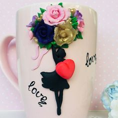 Polymer Clay Creations, Polymer Clay Crafts, Cute Mug, Unicorn Cupcakes Toppers, Clay Mugs, Book Markers, Pasta Flexible, Diy And Crafts, Tableware
