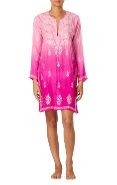 ec26f76d1cd48b Ombre Hot Pink Kaftan With Sequin Embroidery - Juliet Dunn Online Sequin  Embroidery, Embroidered Silk