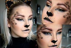 Leopard makeup for halloween or dress up halloween 2015 halloween via pinte Cheetah Halloween Costume, Cat Halloween Makeup, Scarecrow Makeup, Halloween Kostüm, Leopard Costume, Cat Face Makeup, Clown Makeup, Costume Makeup, Eye Makeup