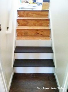 Staircase re-do. Take up old carpet, replace treads and risers, add a runner.