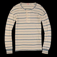 Levi's Vintage Clothing - 1920s Henley in Milk White with Blue Stripe