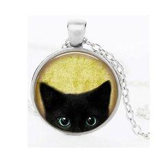 Darkey Wang Woman Fashion Jewelry Retro Black Cat Time Gemstone Necklace…