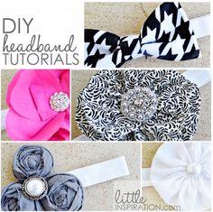 DIY Headband Tutorials at Little Inspiration #crafts #headbands #DIY