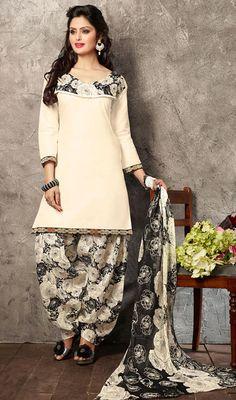 USD 23.27 White Cotton Punjabi Suit 44930