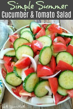 Tomato Salad with a Simple Summer Vinaigrette Cucumber amp; Tomato Salad with a Simple Summer Vinaigrette Cucumber Onion Salad, Tomato And Onion Salad, Cucumber Salad Vinegar, Vinegar Cucumbers, Cucumbers And Onions, Cucumber Recipes, Recipe For Cucumber Salad, Grape Tomato Recipes Salad, Juicer Recipes